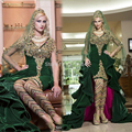 2015 Dubai Kaftan Dress Green Velvet High Low Asymmetrical Crystal Diamond Saudi Arabia Style Luxury Evening Dresses Long Sleeve