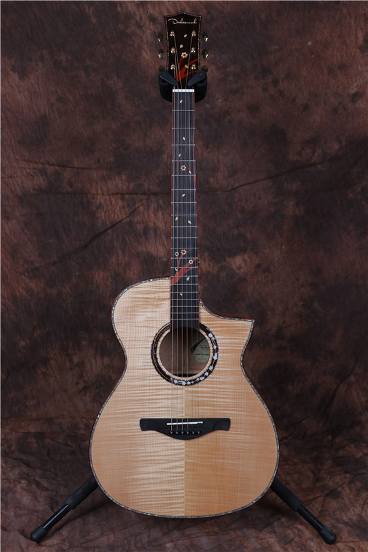 2018 solid flame maple wood acoustic electric guitar tal body shape in guitar from sports. Black Bedroom Furniture Sets. Home Design Ideas