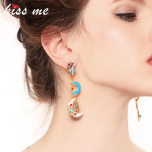 KISS ME Enamel Stars Moon Earrings Multi Color Alloy Long Drop Earrings Women Fashion Jewelry Brincos me 01 fashion dazzle colour s shaped earrings deep pink yellow multi color pair