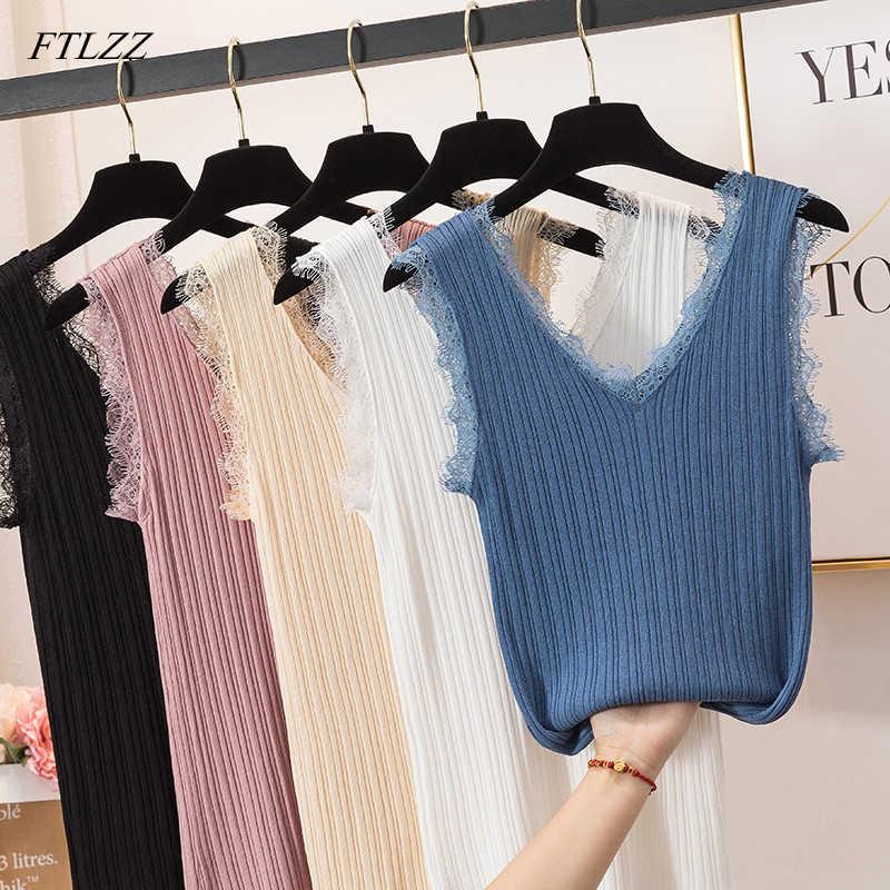FTLZZ Spitze Patchwork Gestrickte T Hemd Frauen Sommer Sleeveless V-ausschnitt Top Baumwolle Weste Tops Weibliche Streetwear