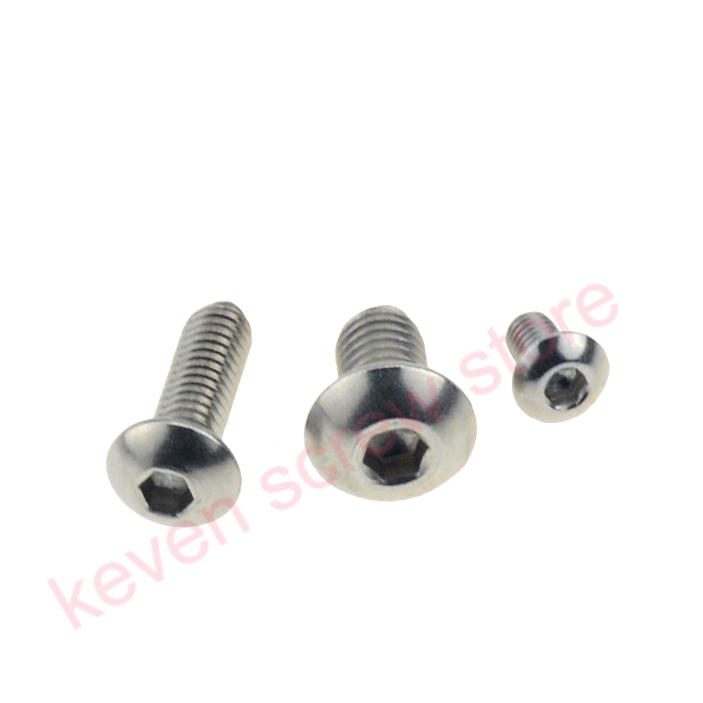 100pcs/Lot <font><b>M4x25</b></font> mm M4*25 mm yuan cup Half round head 304 Stainless Steel Hex Socket Head Cap Screw Bolts image