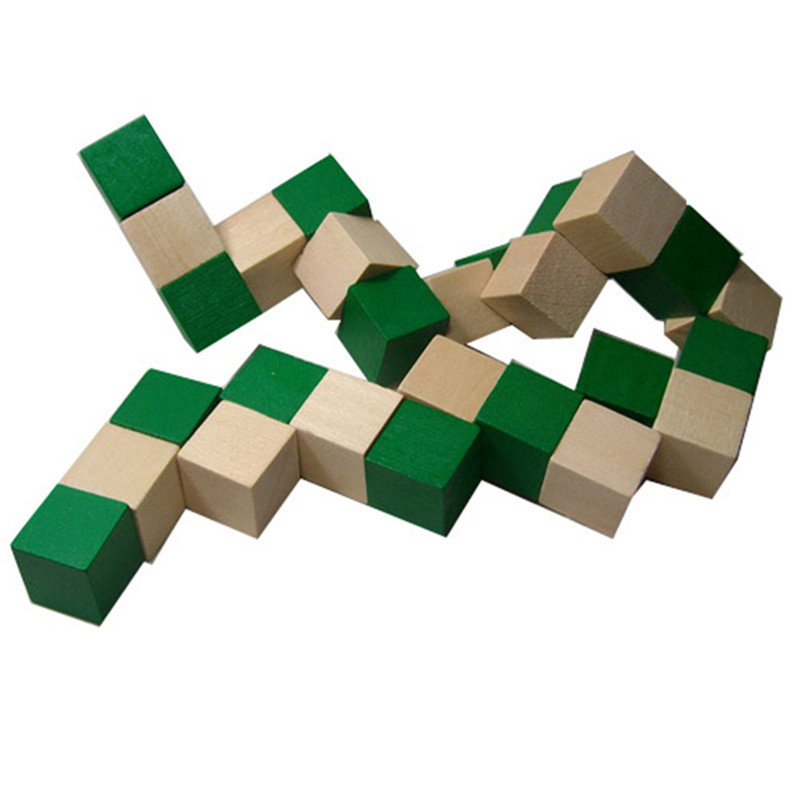27 Sections  Wooden Snake Ruler Snake Twist Puzzle Hot Selling Challenge IQ Brain Toys Classic Game