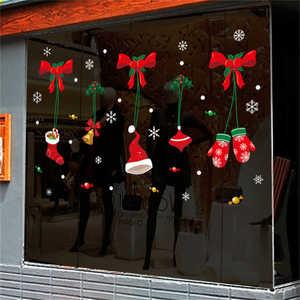 Image 2 - 2019 Cartoon Santa Claus Wand Aufkleber Wand Kunst Abnehmbare Hause Aufkleber Party Decor Frohe Weihnachten Fenster Film Aufkleber