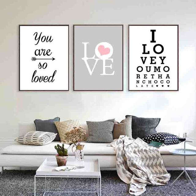 Nordic Minimalist Canvas Painting Print Love Quote Posters Wall Picture For Living Room Decoration Clic