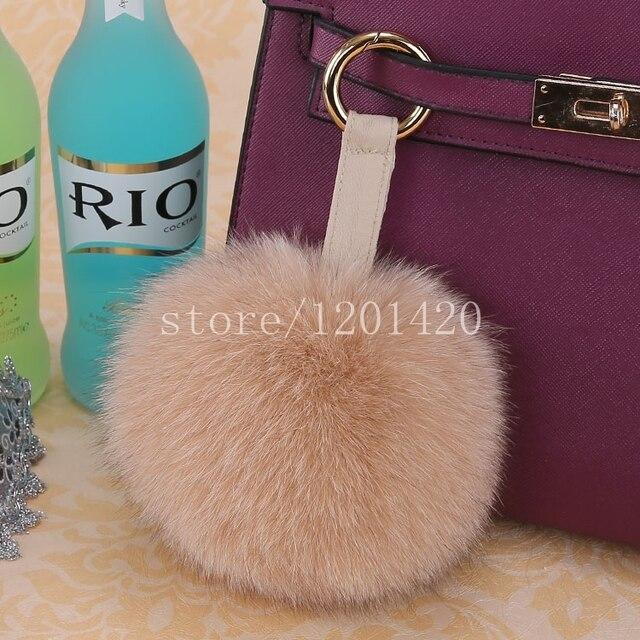 Whole Plush Woman Pompom Bag Bug Real Fox Fur Key Chain Furry Handbag Charm