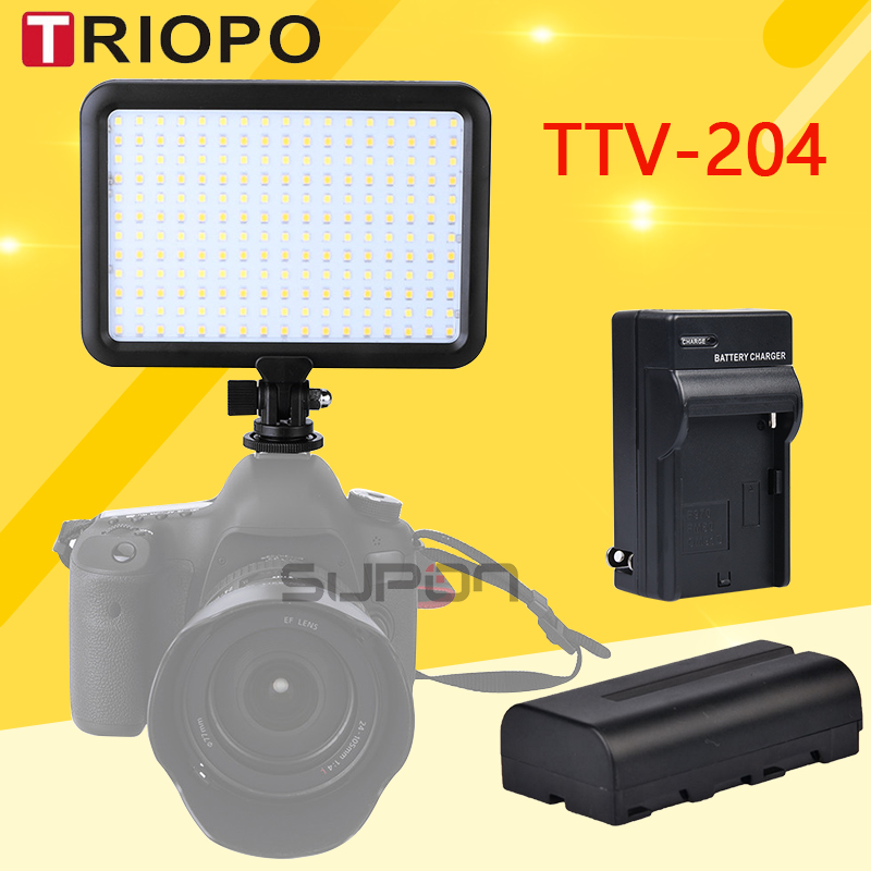 Triopo TTV 204 Photographic Equipment LED Camera Video Light Lamp Panel 3200K 5500K Dimmable for Canon