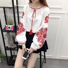 2019 Summer Women Cotton Blouse Soft Fabric O Neck Lantern Sleeve Bohemian Shirt Vintage Embroidery Top недорого