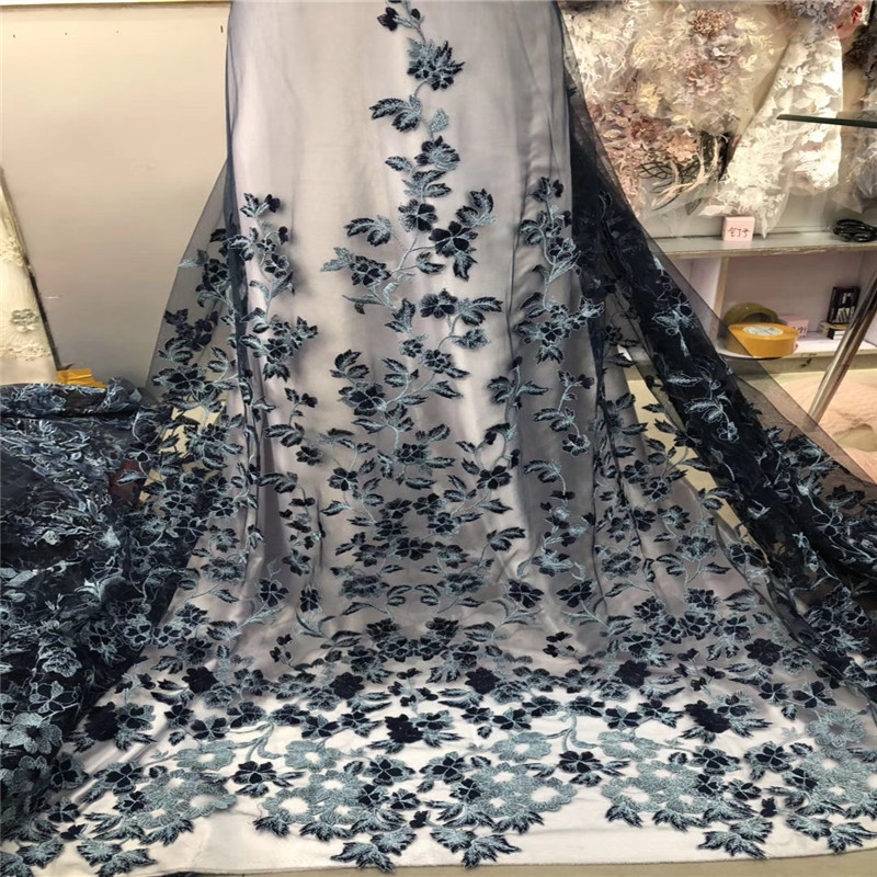 2018 Popular Design 3d Flower Embroidered African lace fabric For Wedding Dress High Quality French Mesh Lace Fabric HX1035 2 in Lace from Home Garden