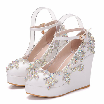 Dropshipping White Platform Wedges Shoes Pumps Women High