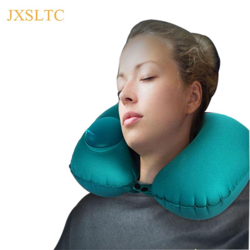 JXSLTC Automatic Inflatable Airplane Neck Pillow Travel Portable Neck Air Cushion Pillow Support break Flight Travel Accessory