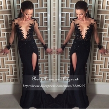 Sexy Black Mermaid Prom Dress With High Slit Top See Through O-neck Long Sleeve Lace Prom Dresses 2017