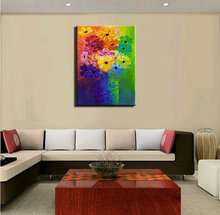 Large Knife paint flower heavy oil bstract modern wall art handmade living room wall painting oil on canvas for bedroom decor