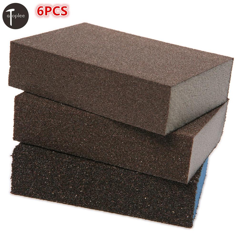 6pcs 100#,180#,320# Grit Sponge Emery Cloth Sandpaper Blocks Buffing Diamond Polishing Pads Hand Sanding Tool