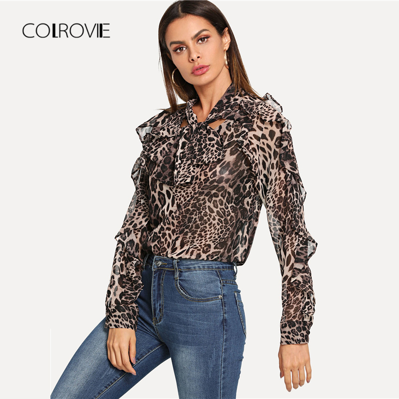 COLROVIE Leopard Elegant Ruffle Trim Knot Women Blouse Shirt 2018 Autumn  Streetwear Fashion Ladies Tops And Work Blouses-in Blouses   Shirts from  Women s ... aeb6a87da725