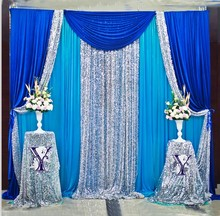 Free Shipping Royal Blue Sqeuin Wedding Backdrop Stand Curtain For wedding decoration 3X3M 3X6