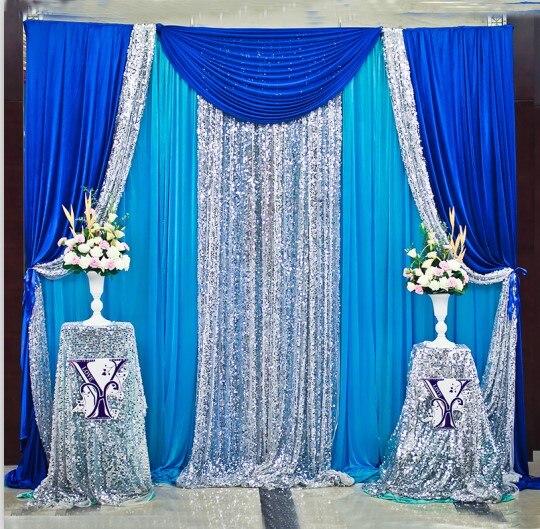 Livraison gratuite bleu Royal Sqeuin mariage toile de fond Stand rideau pour décoration de mariage 3X3 M 3X6,