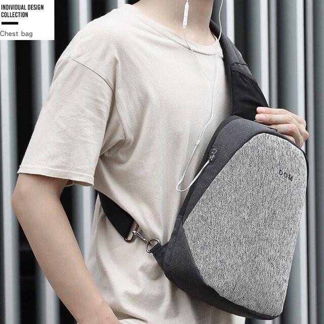Fashion Men Male Bags Casual Splashproof Sling Bag 9.7 inch Crossbody Bags for Women Messenger Black Grey Men Shoulder Bag 1