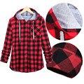 Primavera outono Hoodies Casais Moda Casuais Xadrez Vermelho Xadrez Grosso Camisolas Das Camisas