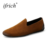 Ifrich Hot Sell Men S Original Leather Casual Shoes Slip On Loafers Men Walking Shoes Black
