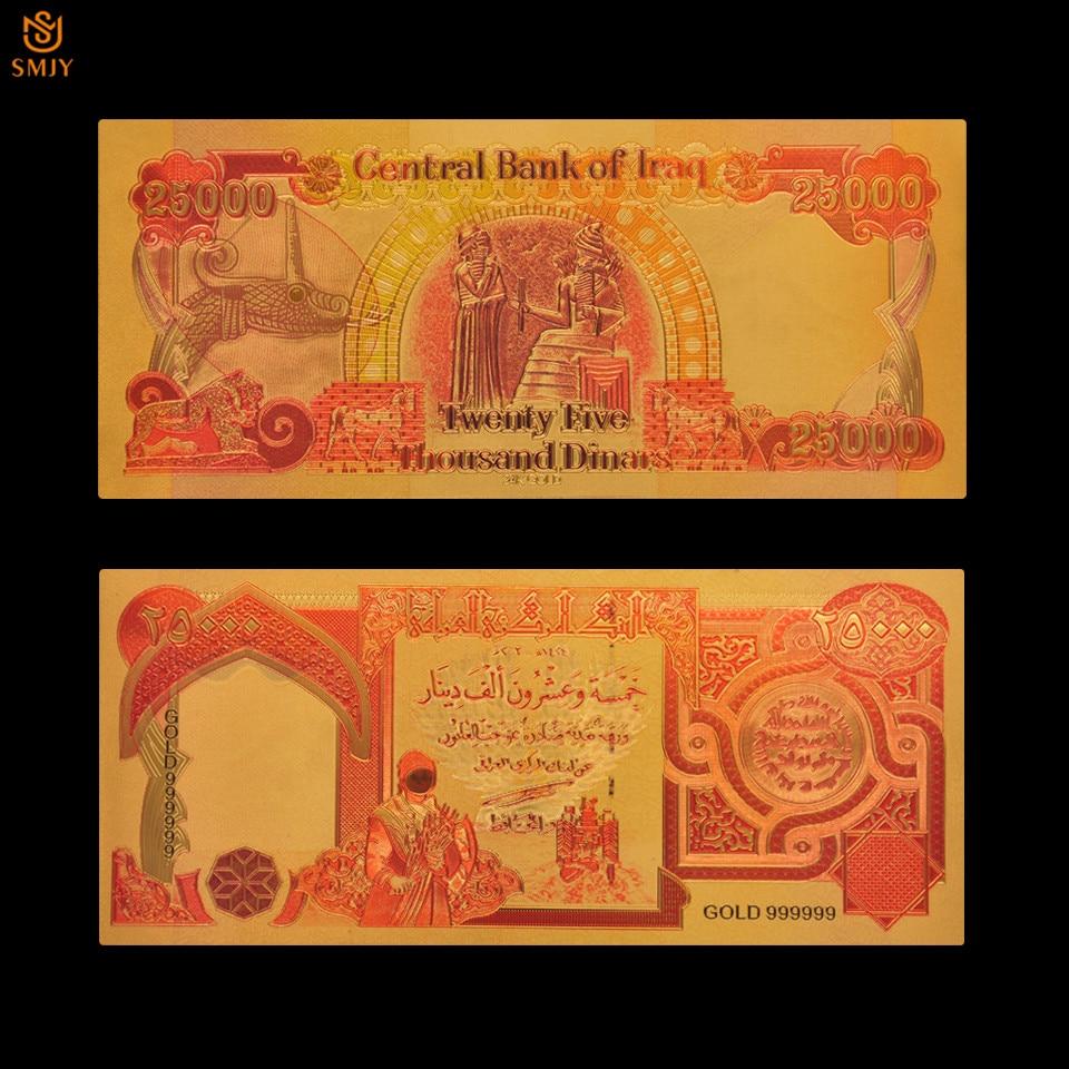 Beaux billets de banque colorés en or 25000 Dinar feuille d'or billets de banque Collections de billets de papier