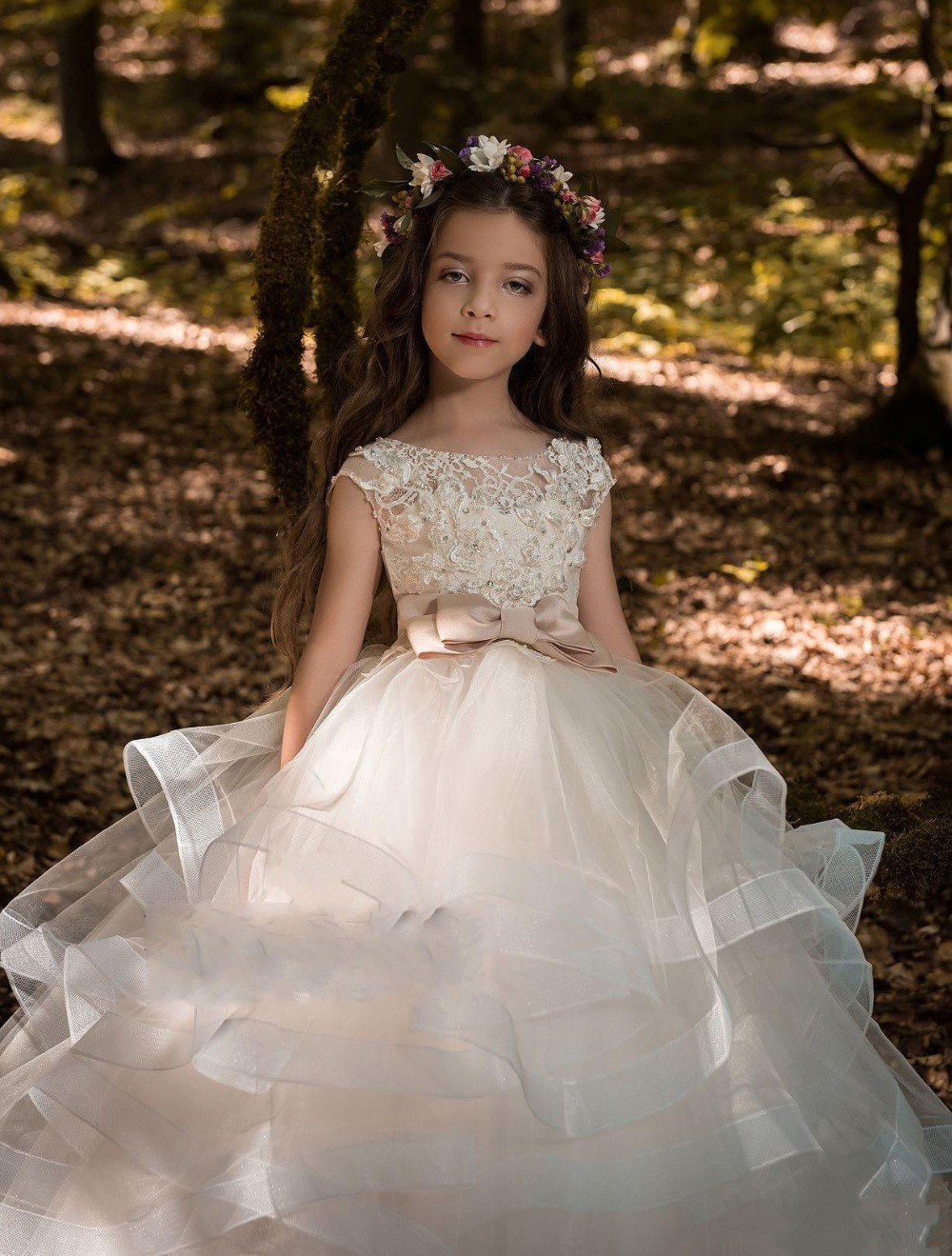 2019   Flower     Girl     Dresses   Weddin Blush Pink Princess Tutu Sequined Appliqued Lace Bow Kids Princess Kids Party Birthday Gowns
