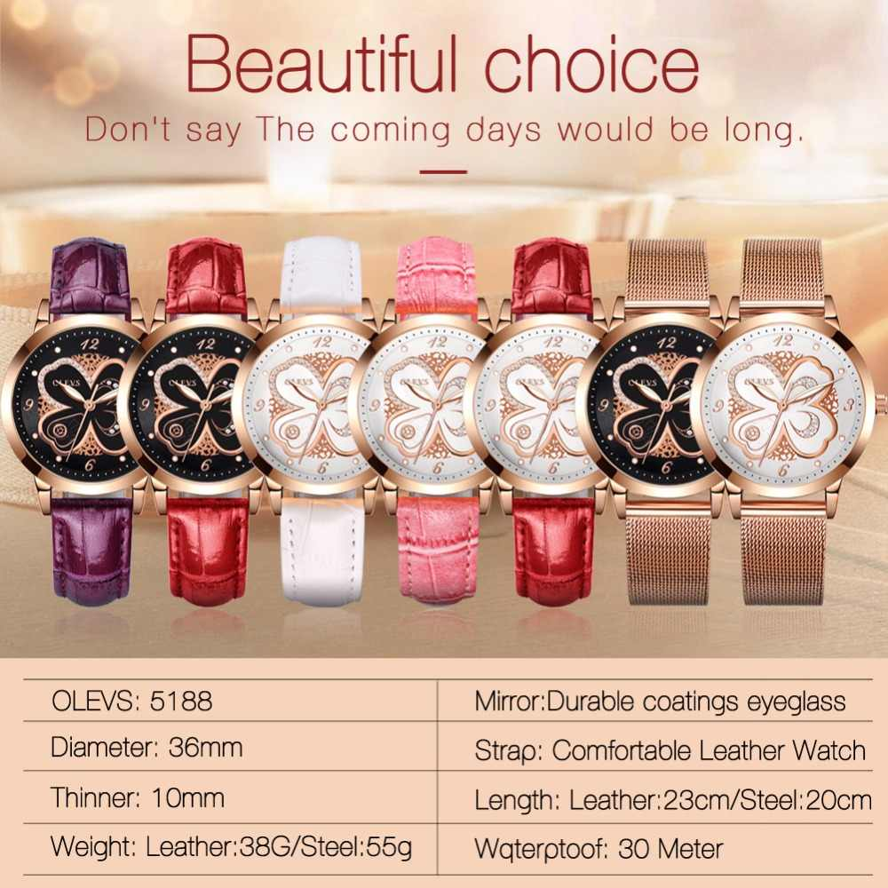 7b82a04b454 ... OLEVS Women Watches Rose gold Leather Luxury Japanese quartz movement Ladies  Watch Women Rhinestone Clock relogio