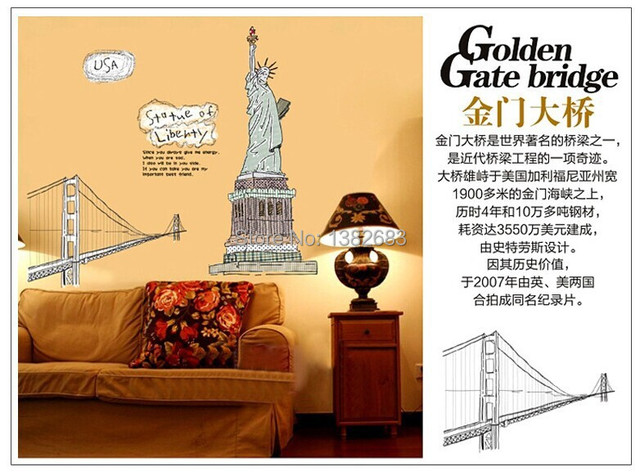 1Set Free Shipping Statue of Liberty & New York Giant Art Decals ...