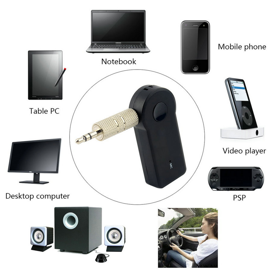 Universele 3.5mm Streaming Car A2DP Draadloze Bluetooth Carkit AUX Audio Muziek Ontvanger Adapter Handsfree met Microfoon Voor Telefoon MP3