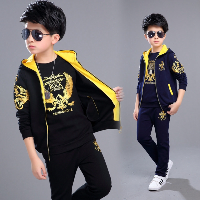 Boys Clothing Set 3pcs For Big Kids Hooded Vest Jacket T-shirt Pant Clothes Suit Children's Sports Suit Boys Child 3-12Years Old