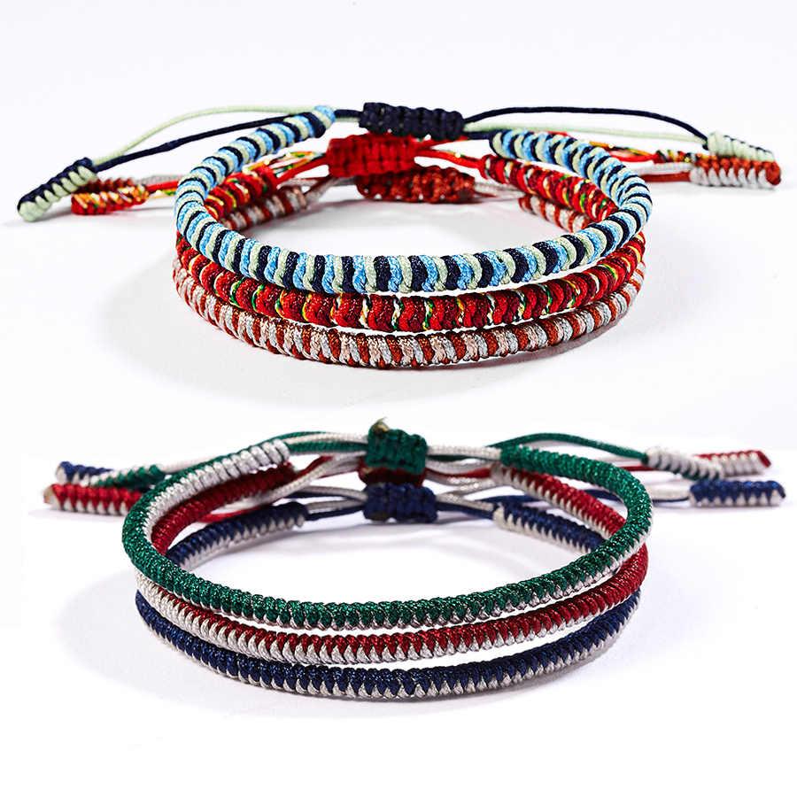 El yapımı Knot Halat Budda Bilezik Kadın Tibet Budist Şanslı Charm Tibet Bilezikler & Kadın Erkek 6 Renk