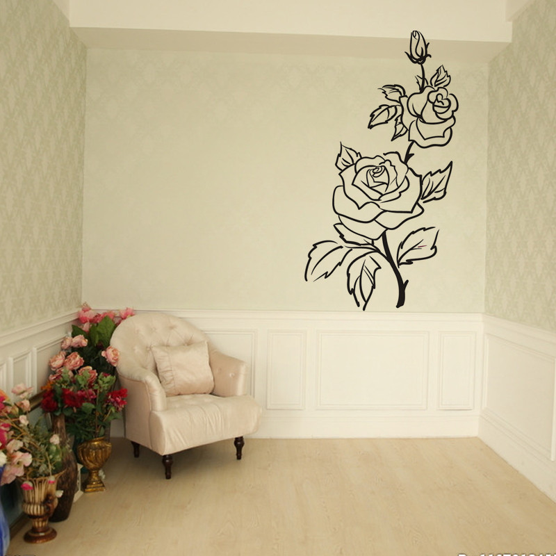 Romantic Rose Wall Stickers Flower Home Decor Beautiful Design For Flower Shop Wall Decals Living Room Bedroom Decoration