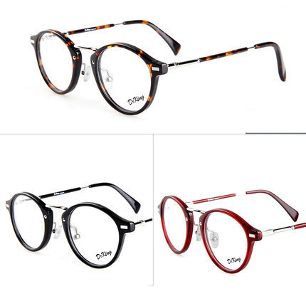 Feminino coreano rodada óculos de armação de metal moda óculos de marca designer estrutura óculos de prescrição mulheres online antistress