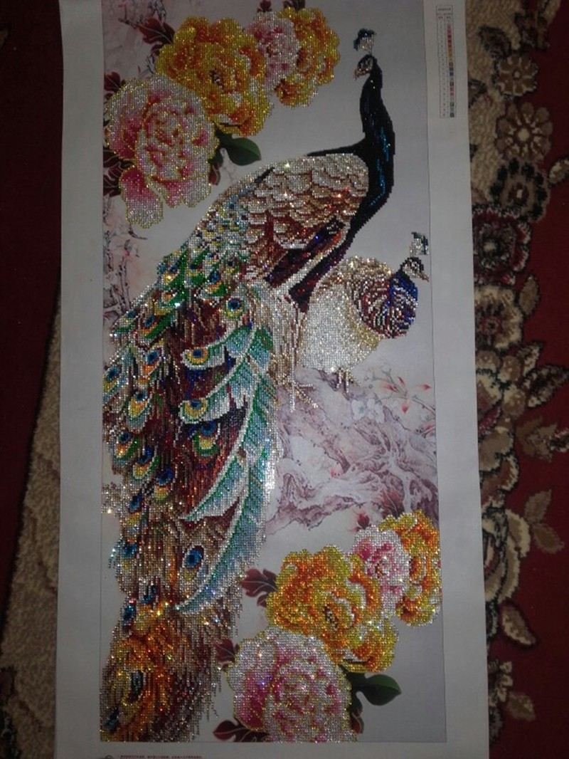 Diamond Painting Cross-Stitch-Kits Home-Decoration Round Two-Peacocks GIFT FOR Diy 5d title=