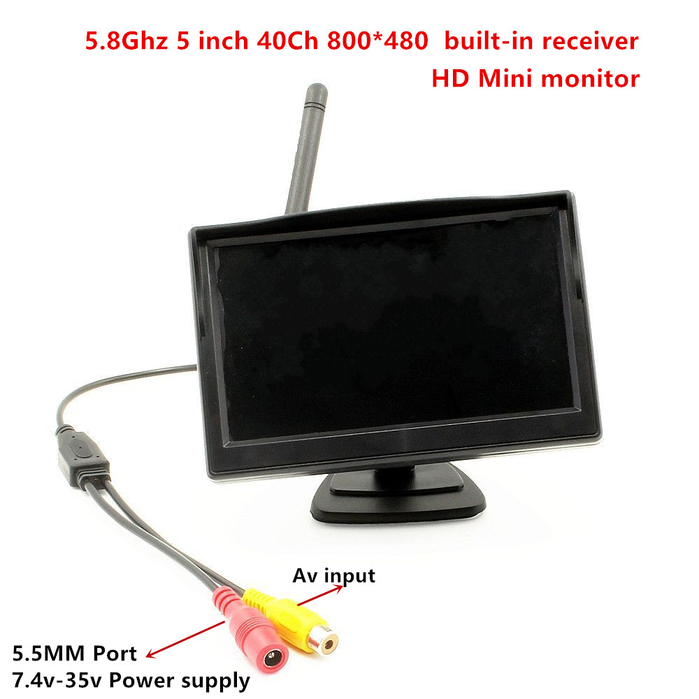 5 inch hdmi Mini monitor 5.8g 5.8ghz 40Ch 800*480 monitor high bright snow monitor built-in 5.8G receiver for fpv ZMR250 drone boscam galaxy rd2 7 inch 800 x 480 hd fpv monitor for remote control plane 5 8g 32 channels vedio receiver
