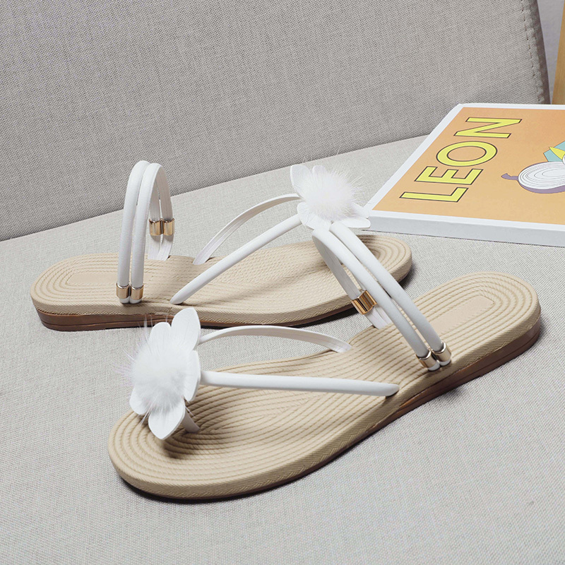 2019 summer brand new flower women 39 s sandals flat bottom casual non slip comfort bohemian slippers size 35 40 free shipping in Low Heels from Shoes