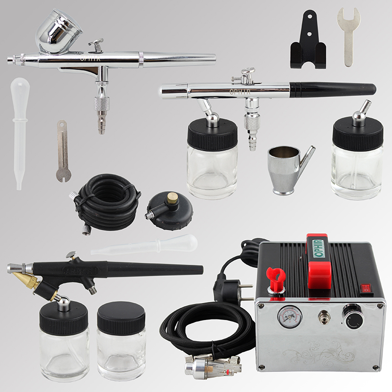 цена на OPHIR 3x Dual-Action & Single-Action Airbrush Kit w/ Air Compressor for Temporary Tattoo Cake Decoration Nail_AC091+004A+071+072