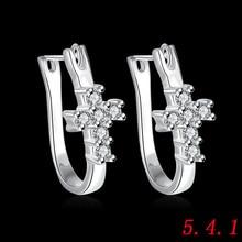 Fashion Trendy New Silver Christian Earings Crystal Juses Cross Hoop Earrings Jewelry for Women CZ-Stone Charm Earring Bijoux