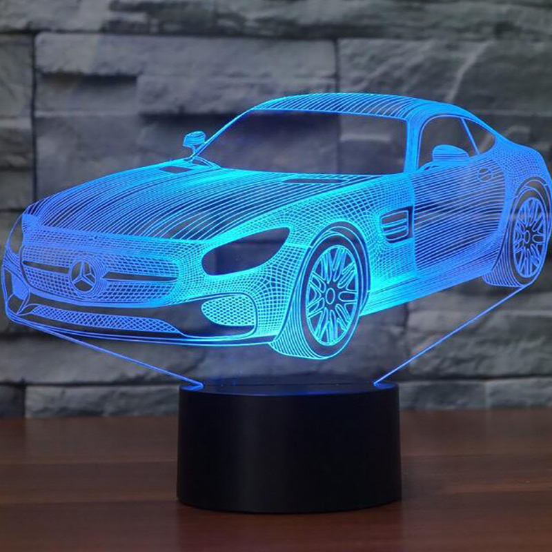 3D LED Car Shape Night Lights Creative 7 Colors Changing Visual Vehicle Luminaria Table Lamp Sleeping Lighting Home Decor Gifts