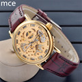 MCE Men Mechanical watch Brown leather Skeleton gold watches for men Luxury fashion brand good gift for men waterproof clock