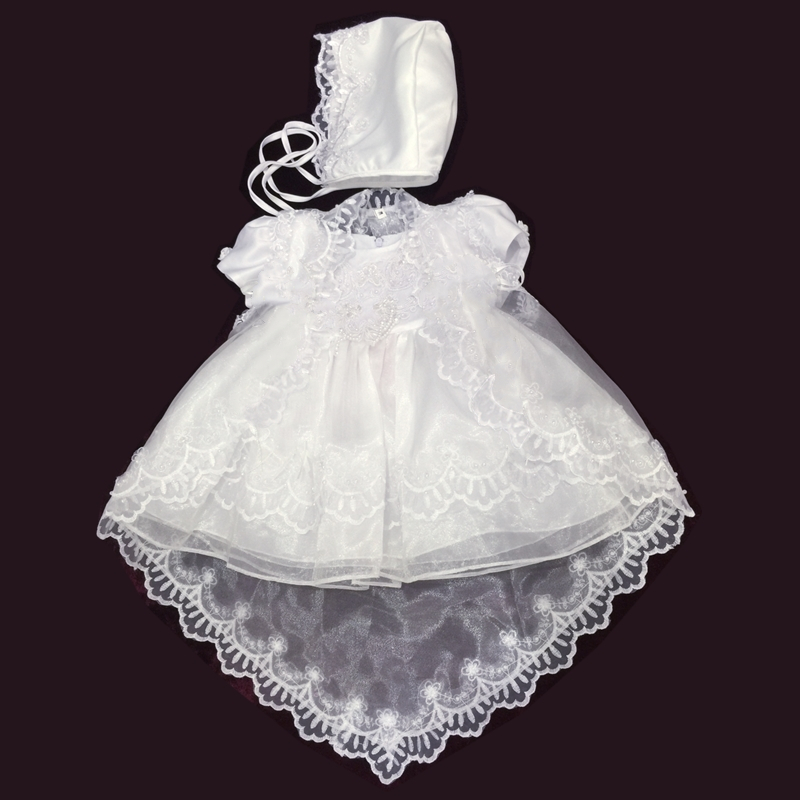 Free Shipping  3M-12M Cotton Lining Baby Baptism Dresses Embroidery White Infant Dress Communion Organza Girls Christening Gowns