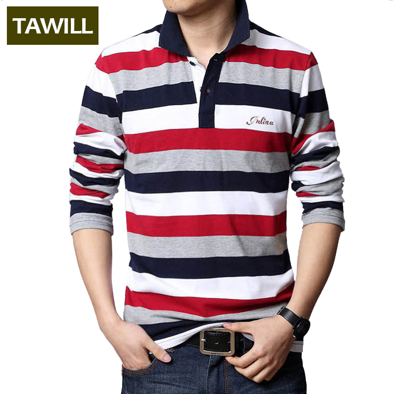 TAWILL 2017 Lettres Brodé Hommes Bande Polo Turn-down Collar Casual Coton Polo Chemise Rouge Gris Vert Asiatique taille M-5XL