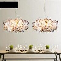 Modern Fashion Creative Multicolors Acryl Flower Led E27 2 Pendant Light For Dining Room Restaurant Living