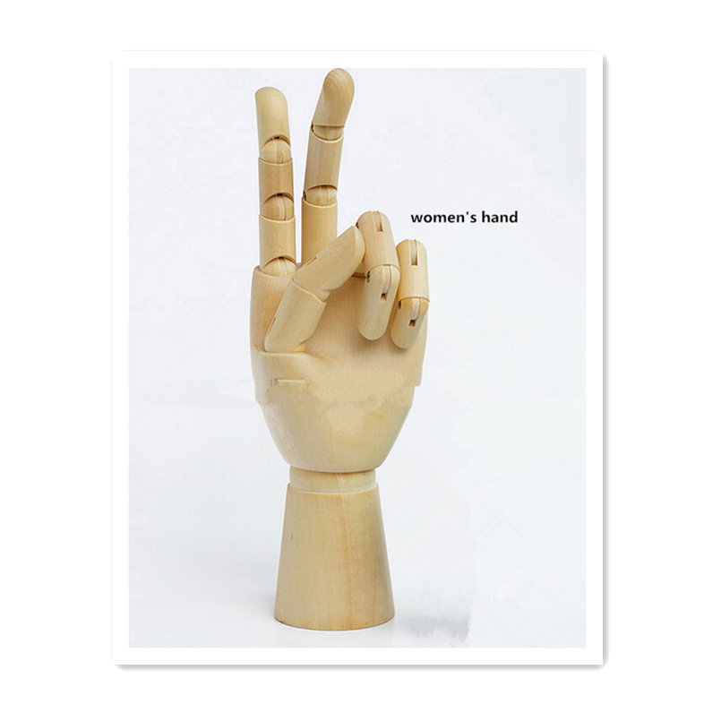 WOWHOT 12 Inches Joint Wooden Hand for Table Decoration,Man Women Kids Wooden Figure Hand Art Toys for Drawing Birthday Toy Gift