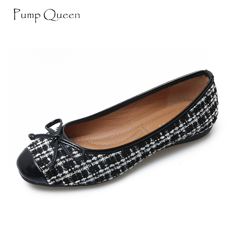 PumpQueen Ballet Flats Women Shoes Spring Autumn Slip on Flats Shoes for Woman Soft Round Toe Female Shoes Zapatos Mujer Size 41 hyfmwzs soft and breathable flat shoes women slip on non slip leather shoes woman comfortable lace up ballet flats zapatos mujer