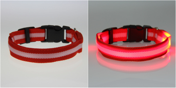 8 Color S M L Size Glow LED Dog Pet Cat Flashing Light Up Nylon Collar Night Safety Collars Supplies Products Freeshipping