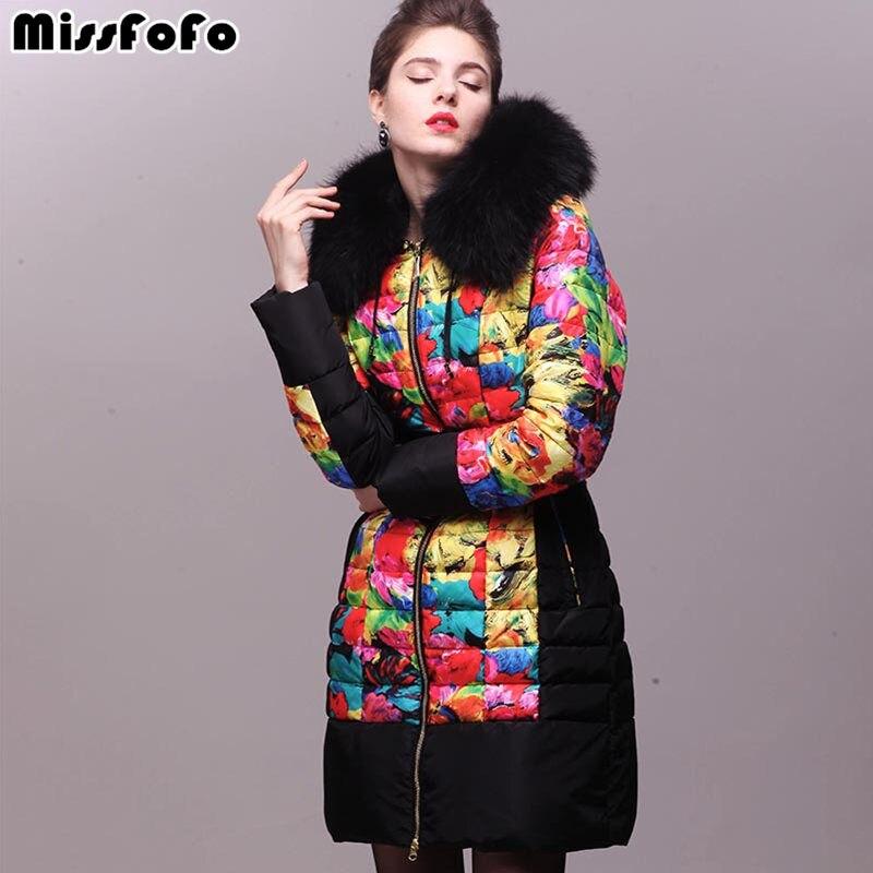 Miss fofo marca das mulheres para baixo casacos royalcat jaqueta nova moda real pele de guaxinim 3d imprimir grosso para baixo casaco de inverno feminino