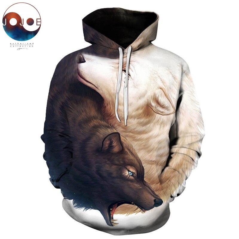 Yin und Yang Wölfe durch JoJoesArt 3D Wolf Hoodies Marke Hoodie Männer Sweatshirt Unisex Wolf Männlich Pullover Mode Lässig Trainingsanzüge