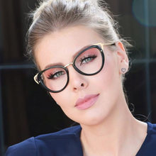 9dcd07aa6ae8 Fashion Cateye Women s Spectacles Frames Clear Fashion Optical Glasses  Frame Female Cool Cat Eye Eyeglasses Metal Frame Eyewear
