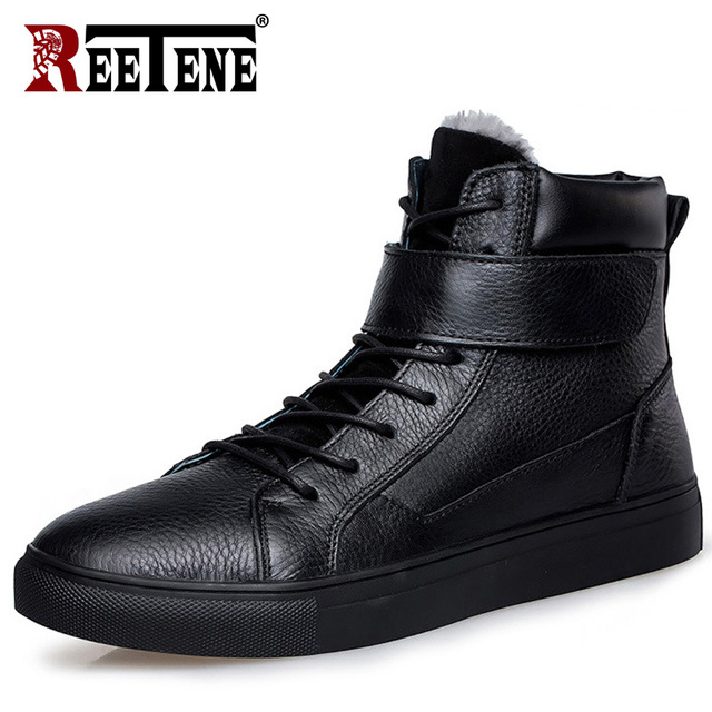 REETENE Winter Boots Men Winter Men'S Motorcycle Men Boots Winter Men'S Boots Super Warm  Zapato Seguridad Hombre 37-48