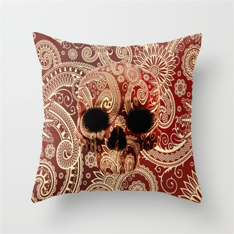 Paisley Skull Cushion Cover Bohemian Pillowcase Square Car-Cushions Invisible Zipper Home Decor Sofa Throw Pillow Cover